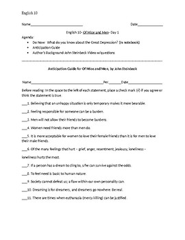 Of Mice and Men Day Sheets