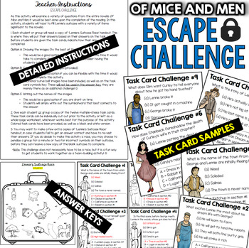 Of Mice and Men ESCAPE ROOM (Novel Unit Review Activity)
