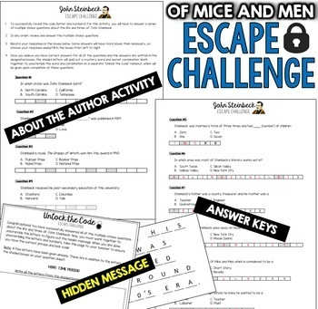 OF MICE AND MEN Escape Room (Novel Study Review Activity)