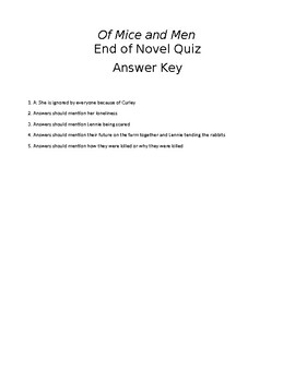 Of Mice and Men End of Novel Quiz