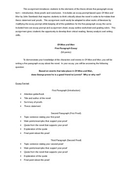Of Mice and Men Five Paragraph Essay Assignment