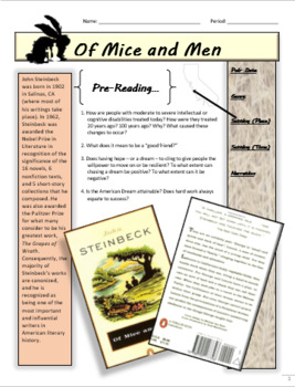 Of Mice and Men Full Unit Packet