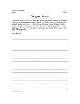 Of Mice and Men George's Journal Writing Assignment