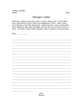 Of Mice and Men George's Letter Writing Assignment