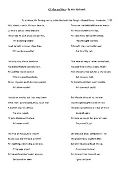 Of Mice and Men Guided Reading Packet