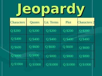 Of Mice and Men Jeopardy Review