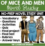 Of Mice and Men Novel Study (John Steinbeck): Vocabulary, Activities, Quiz, Test