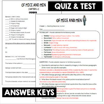 Of Mice And Men Novel Study John Steinbeck Vocabulary Activities Quiz Test