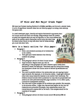 Of Mice and Men Literary Analysis Paper Prompt and Rubric