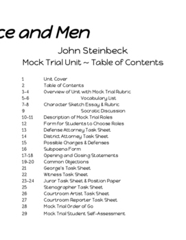 Of Mice and Men Mock Trial Unit Packet