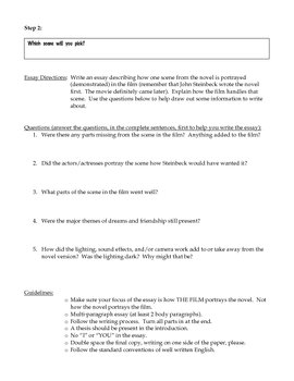 of mice and men movie essay assignment by a teacher in the rye tpt of mice and men movie essay assignment