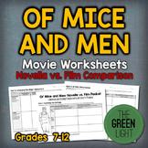 Of Mice and Men Movie Worksheet - Novella/Film Comparison Activity