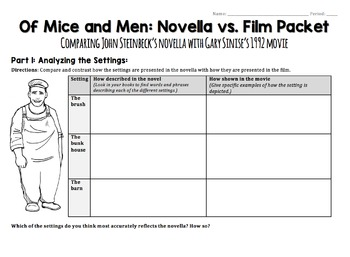 movie and book comparison of mice This free synopsis covers all the crucial plot points of of mice and men  and  wishes that she had followed her dream of becoming a movie star lennie tells  her.
