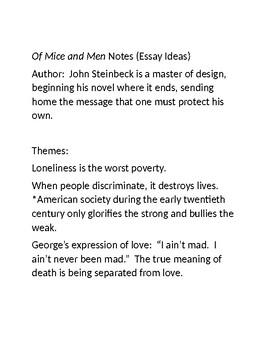 Of Mice and Men Notes for Essay Topics