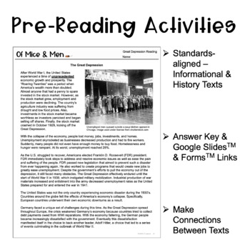 Of Mice and Men Unit: Novel Study, Pre-Reading Lessons, American Dream Project!