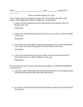 Of Mice and Men Page 17-48 Reading Quiz