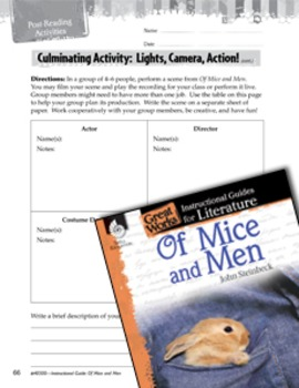 Of Mice and Men Post-Reading Activities
