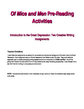 Of Mice and Men Pre-Reading Activities: Two Creative Writing Assignments