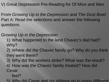 Of Mice and Men Pre-Reading Activities (focus on Great Depression)