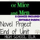 Of Mice and Men Project Choice of 8 plus EDITABLE rubric