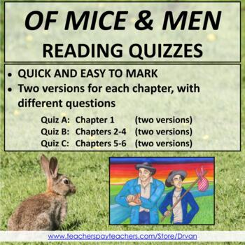 Of Mice and Men - Quick & Easy Chapter Quizzes (2 Versions