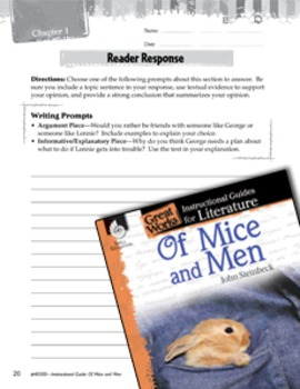 Of Mice and Men Reader Response Writing Prompts