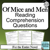 Of Mice and Men Reading Comprehension Questions for the En
