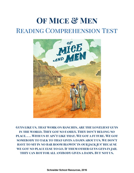 Of Mice and Men Reading Comprehension Test