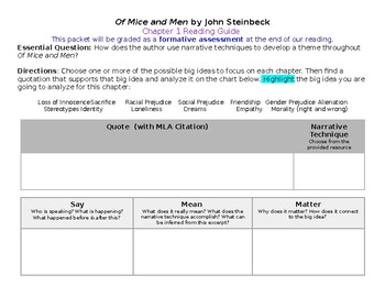 Of Mice and Men Reading Guide- Scaffolding for Thematic Analysis (EDITABLE)