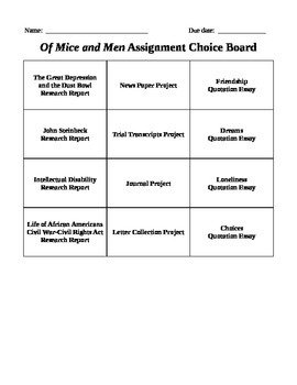 Of Mice and Men Reading Project Packet