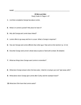 Of Mice and Men Study Guide #1