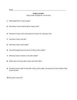 Of Mice and Men Study Guide #3
