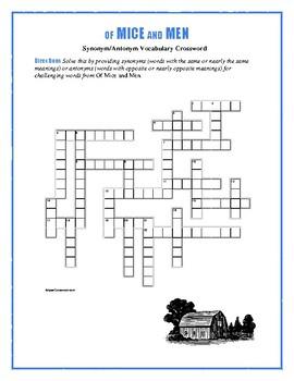 Of Mice and Men: Synonym/Antonym Vocab Crossword--Use with