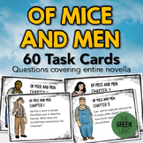 Of Mice and Men Task Cards: Activities, Quizzes, Discussion Questions
