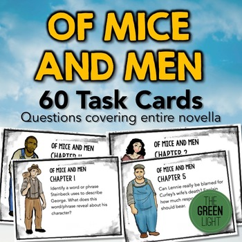 Of Mice and Men Task Cards: Activities, Quizzes, Discussio