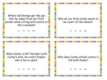Of Mice and Men - Task Cards - Reading Comprehension - Test Prep - Study $ Game