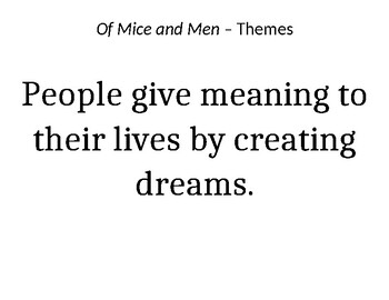 Of Mice and Men - Themes to hang in room