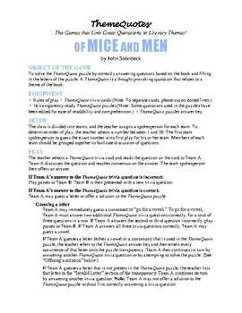 Of Mice and Men Trivia Game—200+ questions—Classroom Fun!