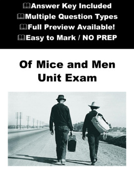 Of Mice and Men Unit Exam \ Test with Answers