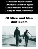 Of Mice and Men Test \ Exam with Answer Key - Final Test