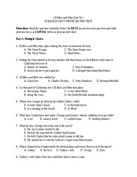 Of Mice and Men Unit Test and Key