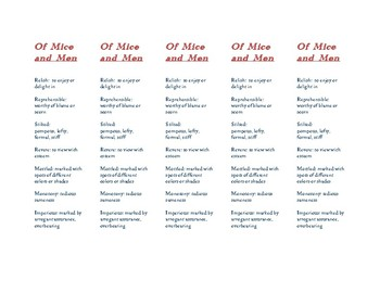 Of Mice and Men Vocabulary Bookmarks