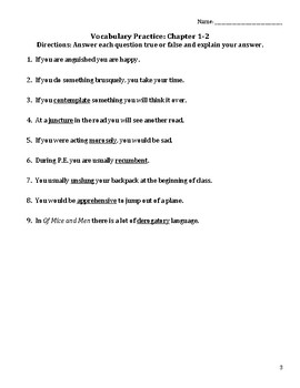 Of Mice and Men Vocabulary List, Practice, and Quiz