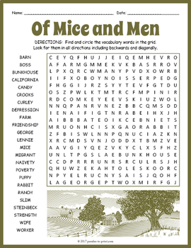 Of Mice and Men Word Search... by Puzzles to Print | Teachers Pay ...