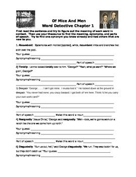 Of Mice and Men by John Steinbeck Chapter 1 Word Detective- Vocabulary