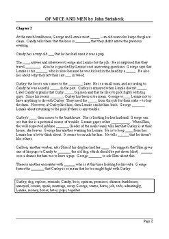 Of Mice and Men by John Steinbeck Plot Summary - Cloze Test