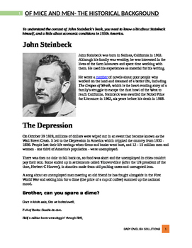 Of Mice and Men by John Steinbeck- Historical background with pictures!
