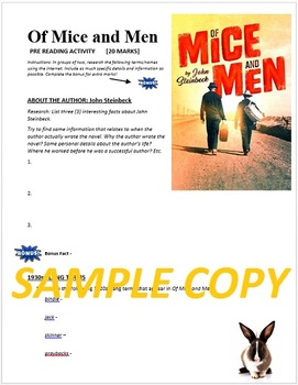 Of Mice and Men by John Steinbeck: Pre-Reading Activity Web Quest