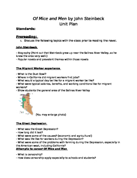 Of Mice and Men by John Steinbeck Unit Plan
