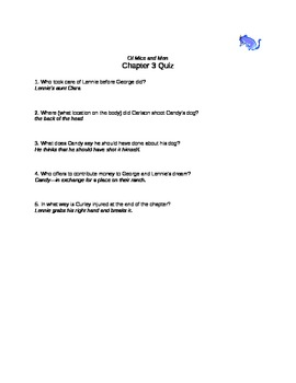 Of Mice and Men chapter 3 quiz